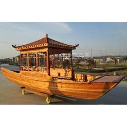 6米仿古單亭船 江南搖櫓船 景區觀光木船 戶外湖面手劃船圖片