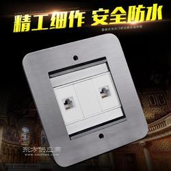梅兰日兰不锈钢防水隐藏式双开门电话电脑地面插座图片