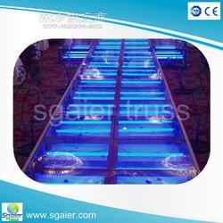 活动舞台楼梯流动舞台灯光支架 玻璃舞台地台图片