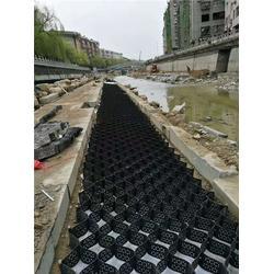 土工格室、蜂格工程材料、土工格室用于支撑管路图片