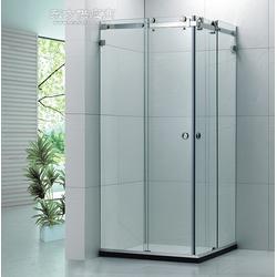 不锈钢长方形两固两活方管钢化玻璃淋浴房吊趟门图片