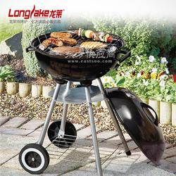 供应户外野餐不锈钢烤网带轮子可移动搪瓷木炭烧烤炉图片