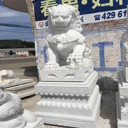 西藏私人会所晚霞红石狮子雕刻_服务商家 、旺通雕塑图片
