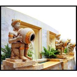 江苏石喷泉-石雕喷泉-黄锈石水钵喷泉图片