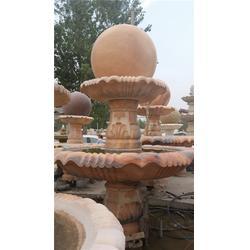 贵州石喷泉,园林装饰石雕喷泉,黄锈石喷泉图片