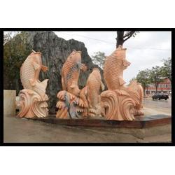 晚霞红石雕鱼摆件,北京石雕鱼,石材雕刻鱼摆件图片