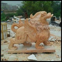 门口摆放石雕麒麟摆件|广西石雕麒麟|石材雕刻麒麟(图)图片