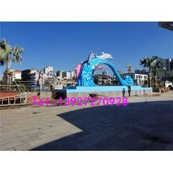 名图雕塑厂家 门拱海浪海豚雕塑-梅州海浪海豚雕塑图片