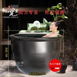 定做酒店温泉专用陶瓷洗浴器材大缸 极乐汤陶瓷泡澡大缸图片
