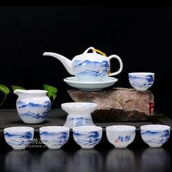 青花玲珑陶瓷茶具,正宗手工手绘茶具礼品茶具定做厂家