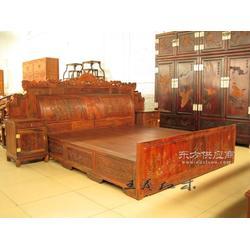 老挝酸枝,酸枝木材质的单人床,坚固耐用手工打磨抛光图片