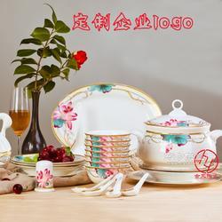 高档骨瓷餐具定做厂家 骨瓷西餐餐具印店名logo图片