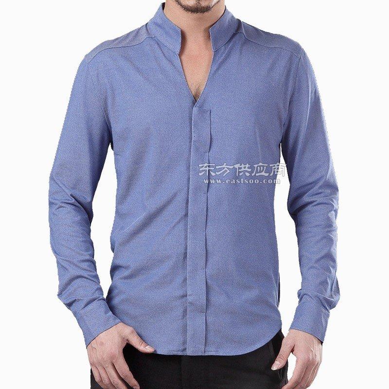 宸贤春季唐装男青年新款男士修身衬衫时尚翻领商务长袖打底衫外穿图片