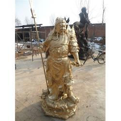 天津铜关公、旭升铜雕、持刀铜关公图片