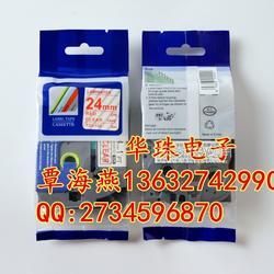 TZ2-152标签色带 兄弟牌标签机不干胶标签纸 透明底红字覆膜标签纸图片