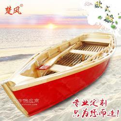 楚风木船欧式风格装饰小型独木舟 出口意大利手划船图片