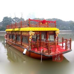 景观木船吃饭游船电动餐饮船景区观光客船图片