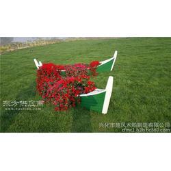 公园景区草坪装饰木船 制作盆栽摄影道具船图片