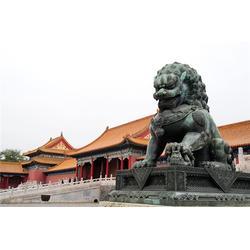 韶关铜狮子 卫恒铜雕厂家 公司门口两米铜狮子定制图片