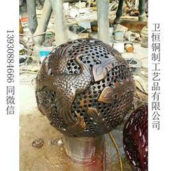 镂空球雕塑|卫恒铜雕(优质商家)|纯黄铜镂空球雕塑制作图片