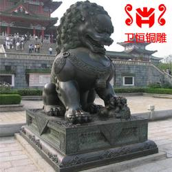 卫恒铜雕厂家 东莞铜狮子 两米铸铜狮子制作图片