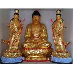 平潭西方三圣|卫恒铜雕厂家|贴金彩绘西方三圣铸造厂图片