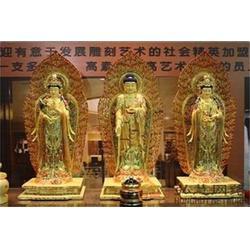 鄂爾多斯寺廟西方三圣銅佛像-鼎豐銅雕圖片