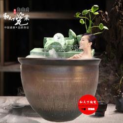极乐汤陶瓷澡缸 温泉泡澡缸图片