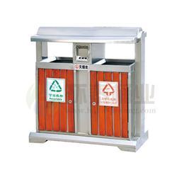 泸州钢木垃圾桶_环泰桶业_户外钢木三色分类钢木垃圾桶图片