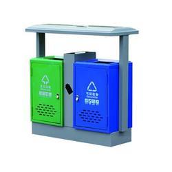 坐地式冲孔分类社区钢制垃圾桶,文昌钢制垃圾桶,环泰桶业图片