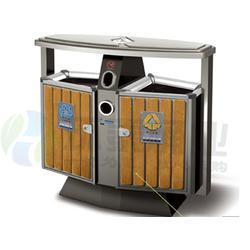 方形带烟灰缸分类钢木垃圾桶,钦州钢木垃圾桶,环泰桶业(图)图片