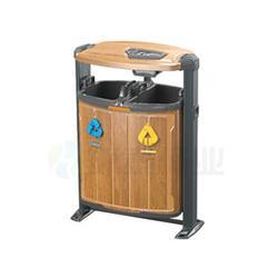 环泰桶业 昆明钢木垃圾桶 德澜仕电解分类钢木垃圾桶图片