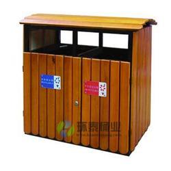 银川钢木垃圾桶-环泰桶业-德澜仕木纹户外分类钢木垃圾桶批图片