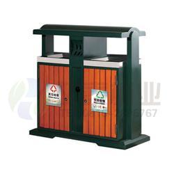 兰州钢木垃圾桶、环泰桶业、新款圆形双桶分类钢木垃圾桶图片