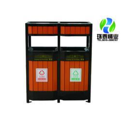 四侧面投口分类钢木垃圾桶_昆明钢木垃圾桶_环泰桶业图片