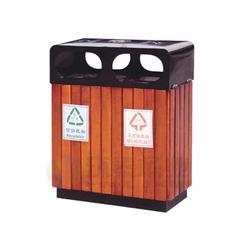 沈阳钢木垃圾桶,钢木垃圾箱,户外钢木三色分类钢木垃圾桶定制图片