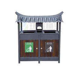 中卫钢木垃圾桶,钢木垃圾箱,德澜仕电解分类钢木垃圾桶供货图片