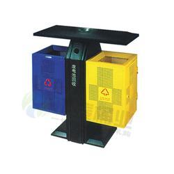 普洱钢制垃圾桶,钢制垃圾箱,顶投口方形双色冲孔钢制垃圾桶图片