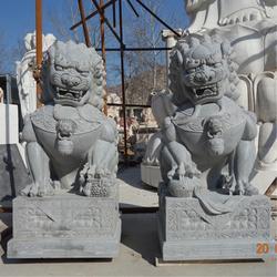 公司门口石雕狮子、北京石狮子、爱强石雕(查看)图片