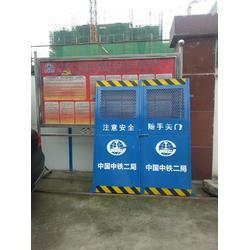 喷塑蓝色工地施工安全门厂家加工定做 工地电梯安全井口防护门图片