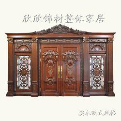 中式花格实木门安装、欣欣饰材、长治实木门图片