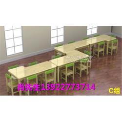 供应新款实木桌椅幼儿桌椅美术桌俄罗斯进口樟子松防腐木材制作找梦航玩具厂家直销图片