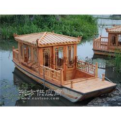 6米玻璃鋼單亭船 精品仿古木船 戶外電動單亭船 水鄉觀光賞景木船圖片