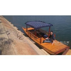 5.5米观光单蓬木船 双桨单篷船 江南水乡观光船 传统木质手划船图片