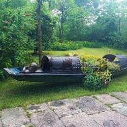 5米户外仿古乌篷船 公园景区乌蓬船 景观装饰船 苏兴制造图片