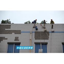 高空外墙砖脱落排险,落水管高安装,渝北人和外墙砖脱落排险图片