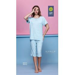 专业加工家居服贴牌厂家 新款全棉短袖休闲家居服套装家居服睡衣代工图片