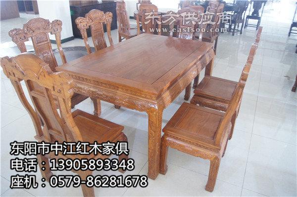 明式红木餐桌长方形、红木餐桌、中江红木家俱质量好图片