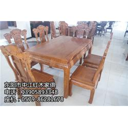 缅甸红木餐桌七件套_红木餐桌_中江红木家俱胜在工艺图片