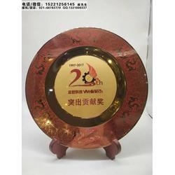 杭州市供应会议会谈座谈会纪念品厂家,会议代表留念礼品,高端镀金铜盘摆件,奖盘制作图片